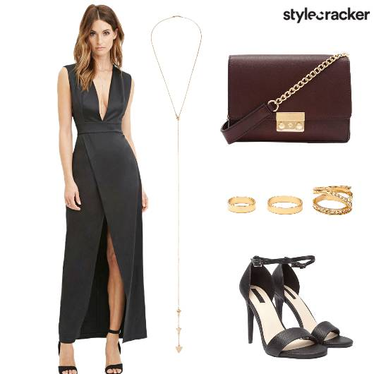 Slitdress Ring Slingbag Heels  - StyleCracker