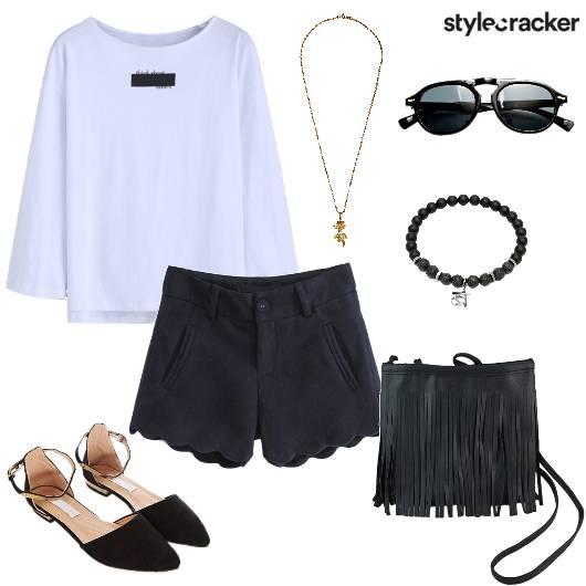 FullSleeves T-Shirt Fringe Flats DayWear - StyleCracker