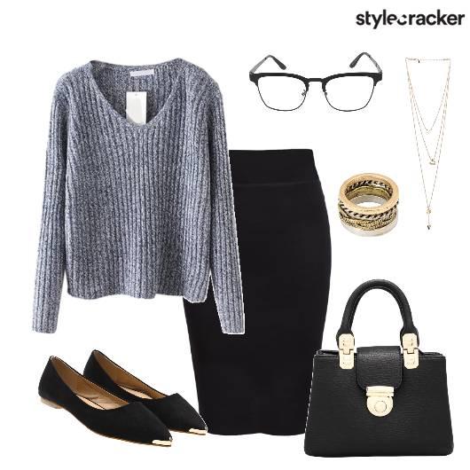 Knit FullSleeve Skirt Work DayWear - StyleCracker