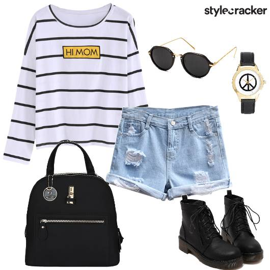 College Casual Stripe Top Shorts LaceUp  - StyleCracker