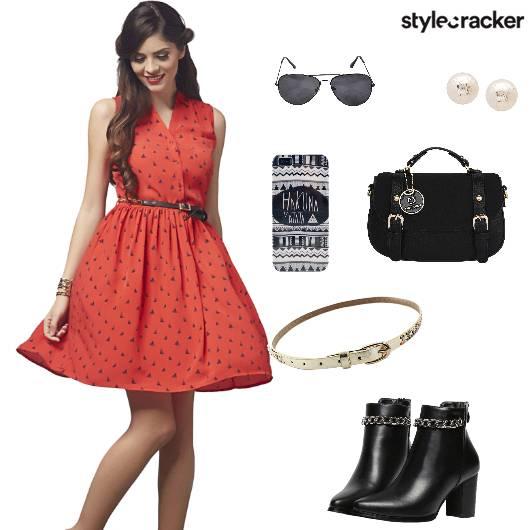 Dress Printed Boots Handbag Waistbelt Casual - StyleCracker