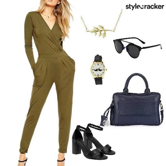 Jumpsuit Blockheels Handbag Work - StyleCracker