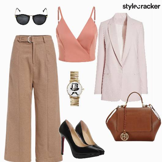 Flaredpants Blazer Handbag Pumps Croptop Work - StyleCracker