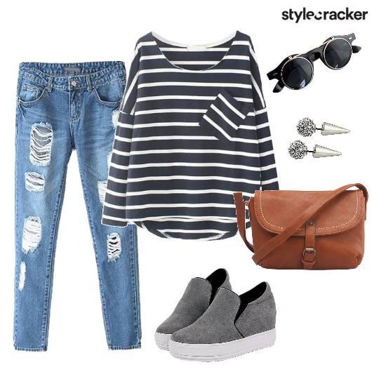 Stripes RippedDenims Casual - StyleCracker