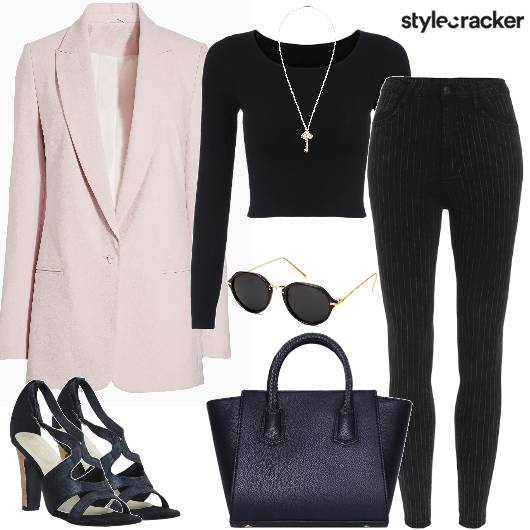 Work Blazer SkinnyPants BasicTee - StyleCracker