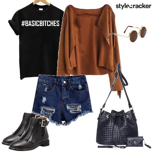 Festival Distressedshorts Fringejacket Bucketbag - StyleCracker