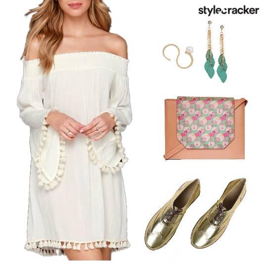 Day OffShoulder Dress Tassels  - StyleCracker