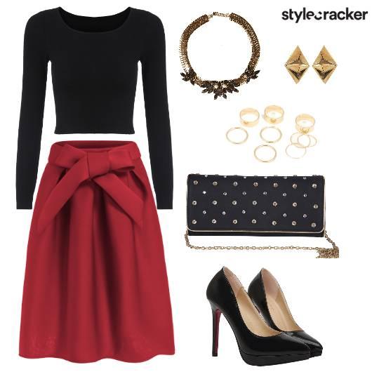 FullSleeve Bow Skirt Dinner Date  - StyleCracker