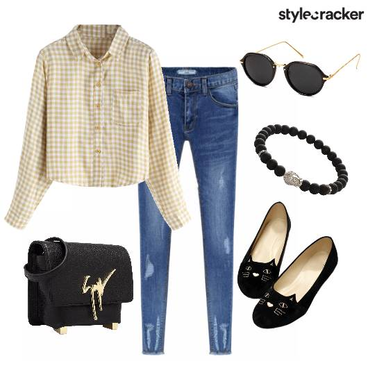 Checks Crop Shirt Jeans Casual  - StyleCracker