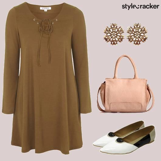 LaceUp Dress BalletFlats Casual  - StyleCracker