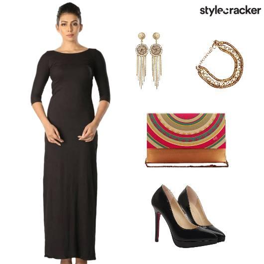 Cocktail Black MaxiDress GoldAccessories - StyleCracker