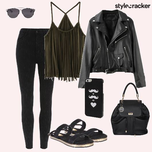 Fringetop Jacket Highwaistpants Backpack - StyleCracker