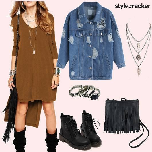 Dress Denimjacket Boots fringebag  - StyleCracker
