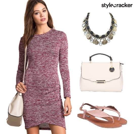 FullSleeves BodyconDress StatementNecklace - StyleCracker
