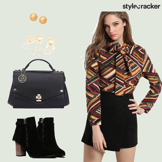 Work PrintedShirt Skirt  - StyleCracker