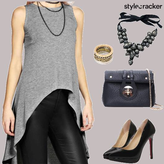 Night AsymmetricLongTop LeatherPants - StyleCracker