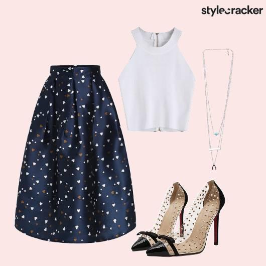 Firstdate Solid Croptop Skirt Hearts  - StyleCracker