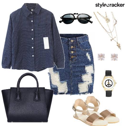 Checks Shirt Denim Skirt Day  - StyleCracker