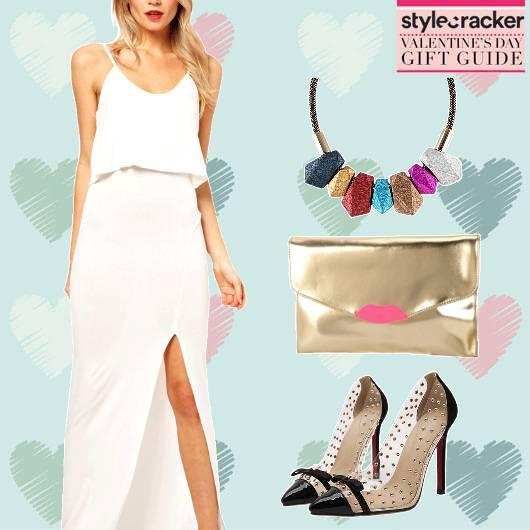ValentinesGiftingGuide MaxiDress Pumps EnvelopeClutch - StyleCracker