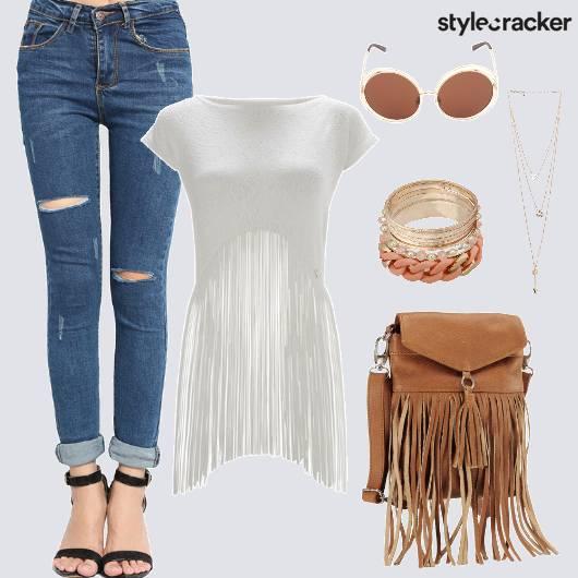 Jeans Fringe Top Bag Travel - StyleCracker
