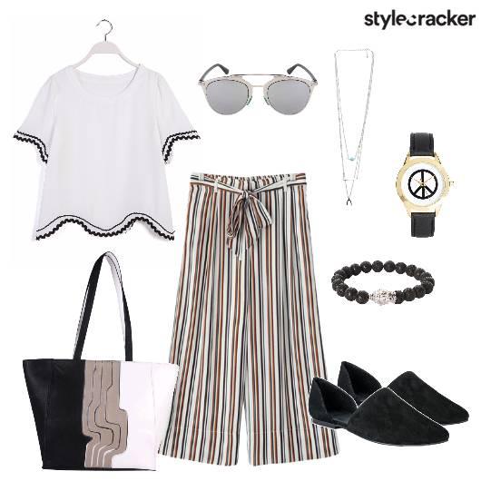 Stripes Pants Top Casual - StyleCracker