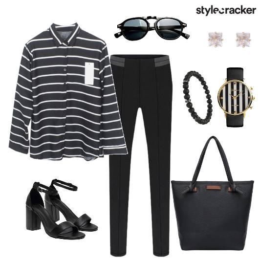 Stripe Shirt Pants  Work Day Wear - StyleCracker