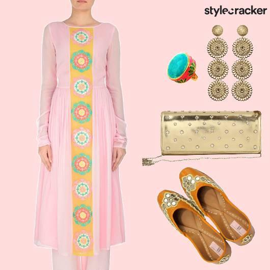 EthnicIndian Anarkali StraightPants ContrastRIng - StyleCracker