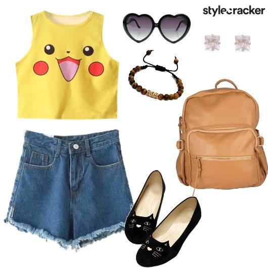 CropTop Shorts BackPack Shopping - StyleCracker