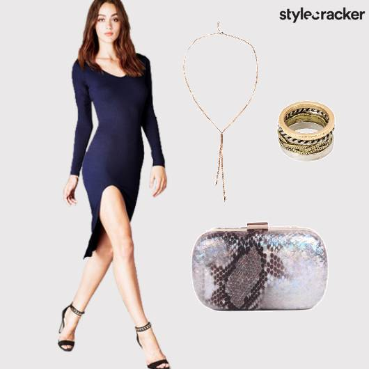 Bodycon Navy Dress Highslits Nightout  - StyleCracker