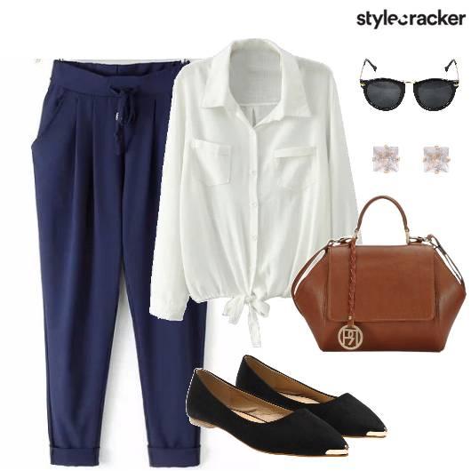 Work DrawStringPants WhiteTieUpShirt - StyleCracker