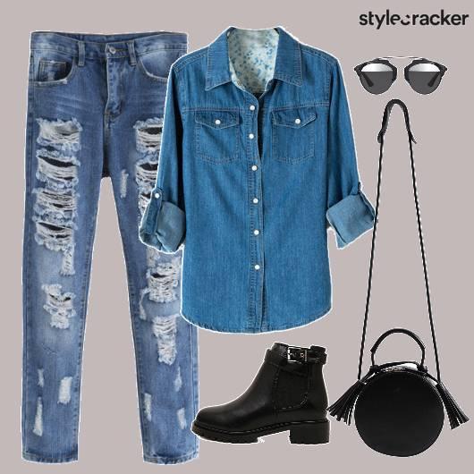 Denim Ripped Boots Bag Sunglasses - StyleCracker