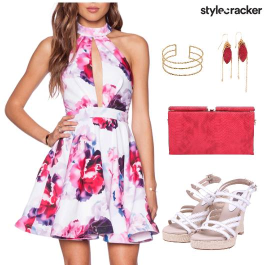 Dress Floral Print Shoes Clutch Accessories - StyleCracker