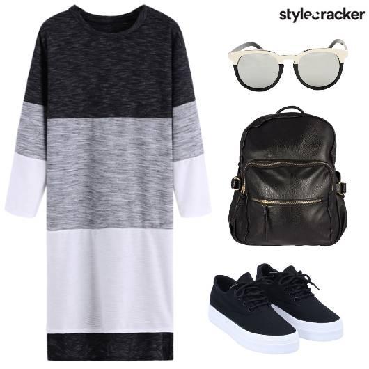 Stripes Dress Backpack LaceUps  - StyleCracker