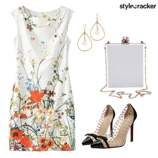 Floral Dress White Brunch  - StyleCracker