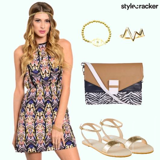 Printed Dress Multicolored Vaccastion - StyleCracker