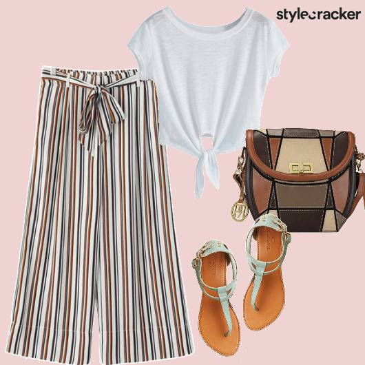 Stripes Mintgreen Flats Slingbag Casual Comfy - StyleCracker