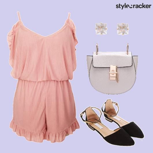 Pink Romper Casual Outing Daywear - StyleCracker