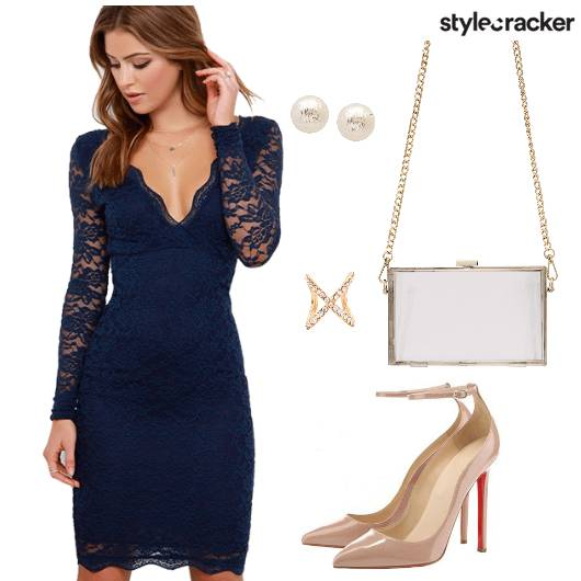 Navy Lace Dress Party - StyleCracker