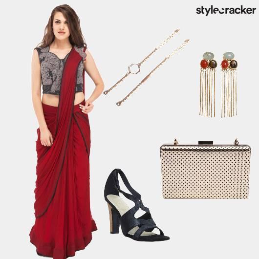 Saree Heels Danglers Clutch - StyleCracker