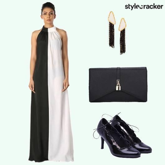Colourblocking Heels Gown Earrings - StyleCracker