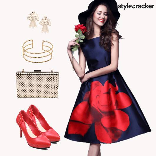 DateNight RosePrintDress Pumps - StyleCracker