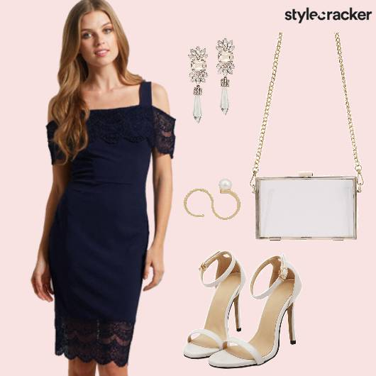 Navy Lace Cocktail Dress - StyleCracker