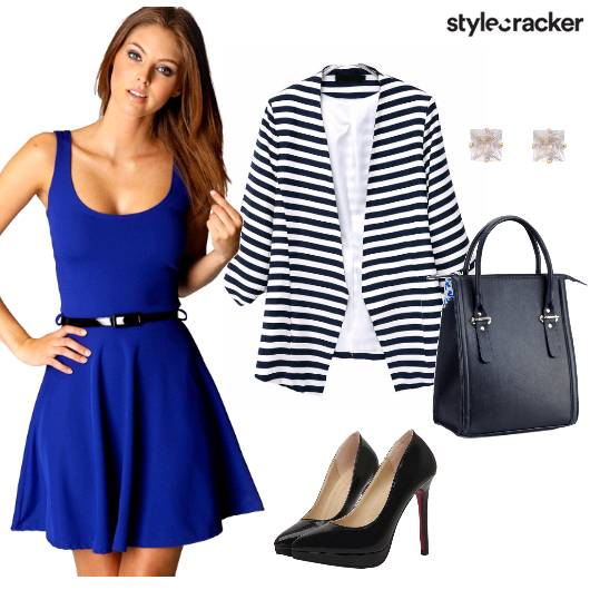 Meeting AMtoPM FlaredDress StripedBlazer - StyleCracker