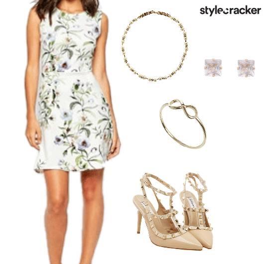 PrintDress Heels Party Casual  - StyleCracker