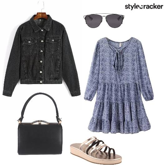 Denim Print Dress Casual  - StyleCracker