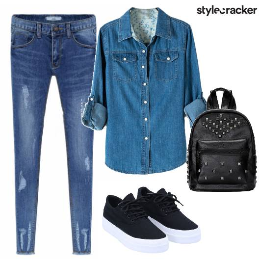 DenimonDenim Sneakers StuddedBag - StyleCracker