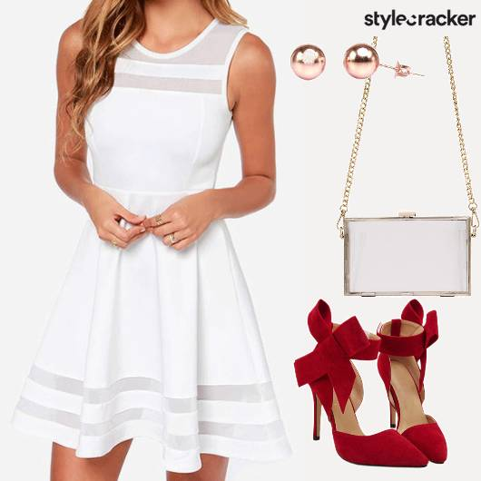 Skater Dress Red Pumps Bow Party  - StyleCracker