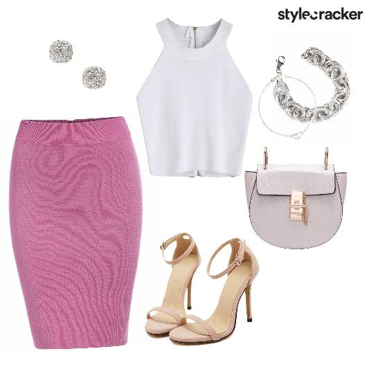 Bandage Skirt Crop Brunch Silver  - StyleCracker