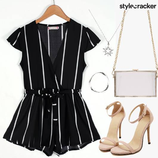 Striped Playsuit Minimal Jewelry Eveningdate - StyleCracker