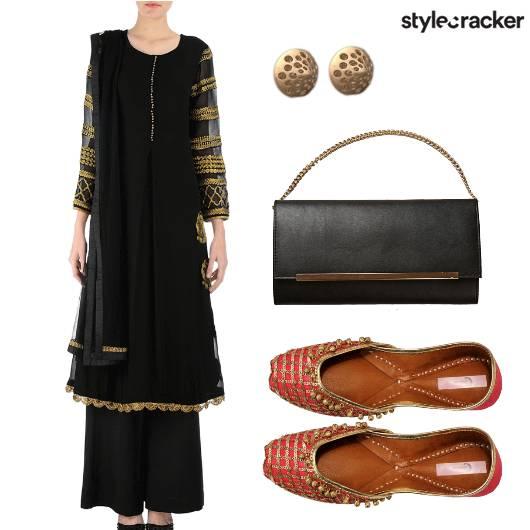 Indian Black Juttis Earrings Classic - StyleCracker